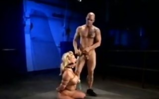 fastened blonde is walked like a dog then screwed