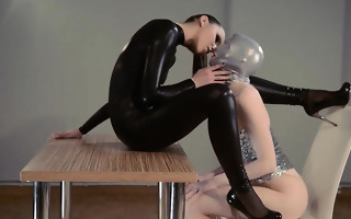 hot strapon lesbians in mask playing