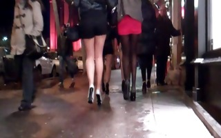 group cuties in mini skirt and high heels
