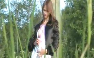 teenie schlong toying vagina in a forest