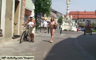 hawt public nudity with lovely blonde hanka