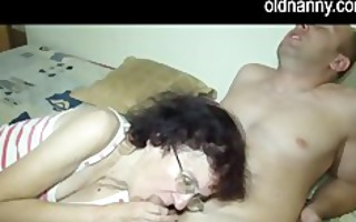 old oma with juvenile angel blowjob jointly
