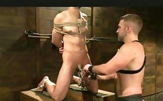 homosexual in thraldom acquires his cock tortured