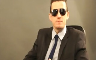 young businessman spits on your notebook - 051