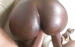 lusty ebon whore with huge gazoo pumped hard on