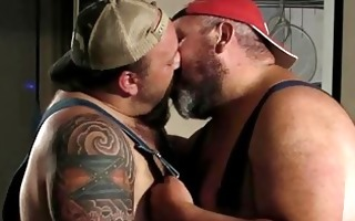 two large daddies pleasing every other kissing