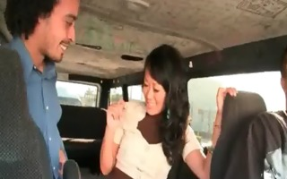 asian honey showing her bj talents in the sex bus
