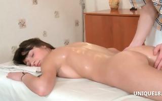 sexy ginta enjoying her first full body massage