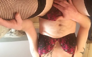 panty stroke in wifes brassiere and strap