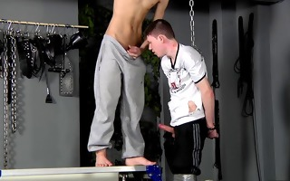 bdsm villein guy fastened up punished drilled