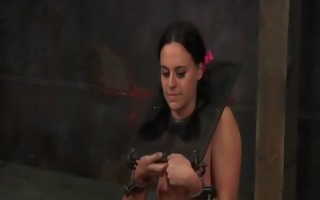 restrained gal is punished