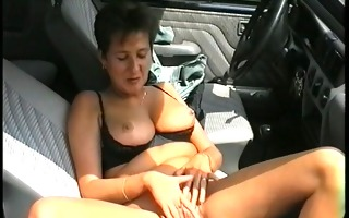 sexy jerkoff in her car