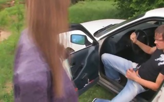 18yo russian teenager drilled on the car