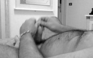 stroking and cumming in black and white