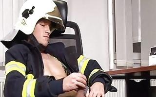hunky firefighter masturbates in office