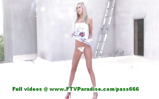 brynn stunning blonde woman getting bare and