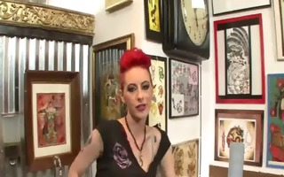 beauty joanna lesbian fun at tatto store with