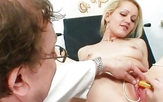 golden-haired female real gyno check up