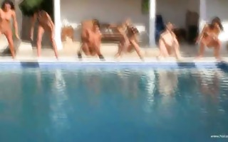 six bare cuties by the pool from usa