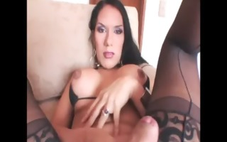 cristal a in underware tugging her cock and can