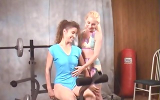 milf and her lesbo tutor at gym in nature