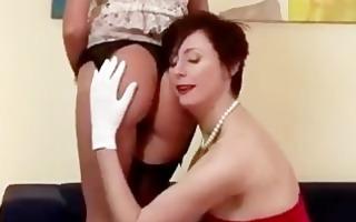 aged stocking whore flirting and posing