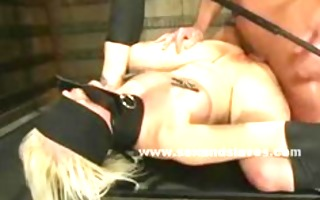 fastened from wall blond sex villein acquires