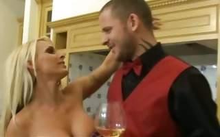 alluring blond whore in the kitchen