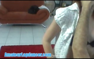 legal age teenager redhead does amazing lapdance