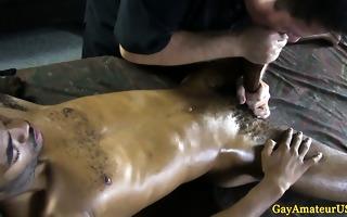 non-professional dark guy getting gazoo fingered