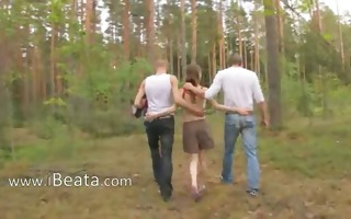 dilettante slovak three-some in the forest