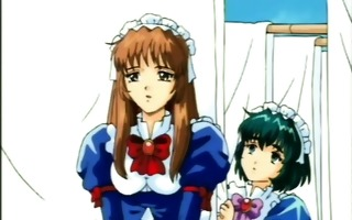 servitude anime maid gets pinched her bigtits and