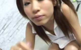 pigtailed japanese teen receives caressed during