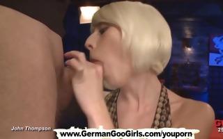 obscene bukkake blondie gets shared betwixt a