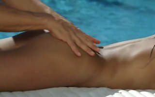poolside excitement with sexy darkhair playgirl