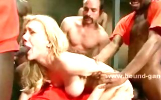 golden-haired busty prison secretary caught by