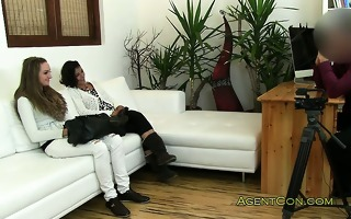 lesbo amateurs drilled by fake agent on casting