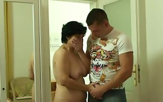 son-in-law drills her old bushy snatch