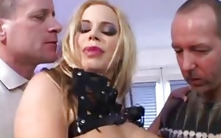 golden-haired slut with big milk shakes wearing