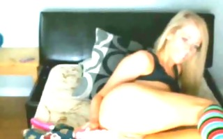 horny blond toying on livecam