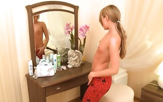 blonde legal age teenager ivana awaiting for a