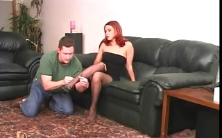 hot redhead in stockings playing with her guy